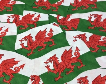 Patchwork Quilting Fabric Nutex Welsh Flag