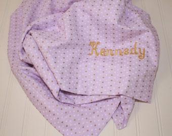 Personalized Minky Baby Blanket - Toddler Minky Blanket - Michael Miller Wee Sparkle Sprinkle Heart - Lavender Baby Blanket