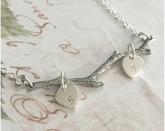 Silver Tree Branch Necklace - Hand Stamped Leaves - Initial Branch Necklace - Leaf Branch - Personalized Twig Necklace - Nature Jewelry