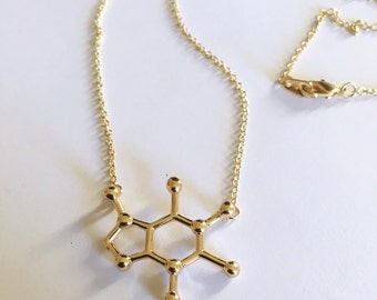 Caffeine Molecule Chemistry Necklace