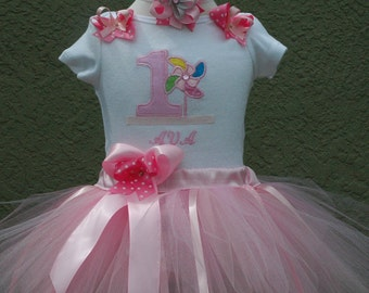 Baby Girl 1st Birthday Outfit, Pink Pin Wheel Baby Girl Tutu Outfit, Sewn Includes Bows. Pink Baby Girl First Birthday Tutu Set, Birthday