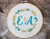 Cross stitch pattern, floral wreath plus alphabet, save the date, initials, embroidery pattern, Pdf PATTERN ONLY (W002bonus)