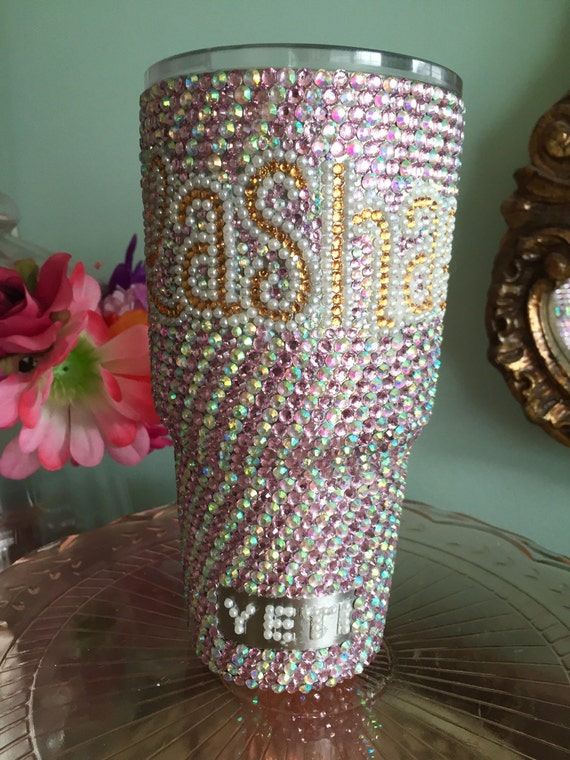 Rhinestone 30 oz Yeti Rambler Bicolor with Rhinestone and Pearl Name