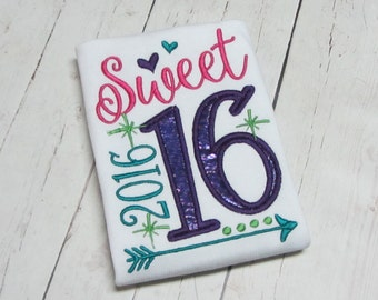 Sweet 16, sweet 2016, Little miss 2016 - New Years embroidered shirt