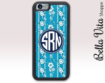 Turquoise Floral Turtles Summer iPhone 5 Case, Personalized iPhone 5S Case, Monogram iPhone 6 Case, iPhone 5 Case, Turtles Summer 1221