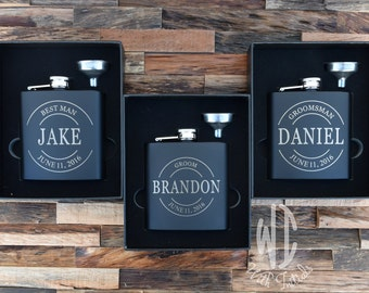 Personalized Flask with funnel Set, Monogram flask, Groomsmen Gift, Groomsmen Flask, Gift for Groomsmen, Engraved Flask, gift box