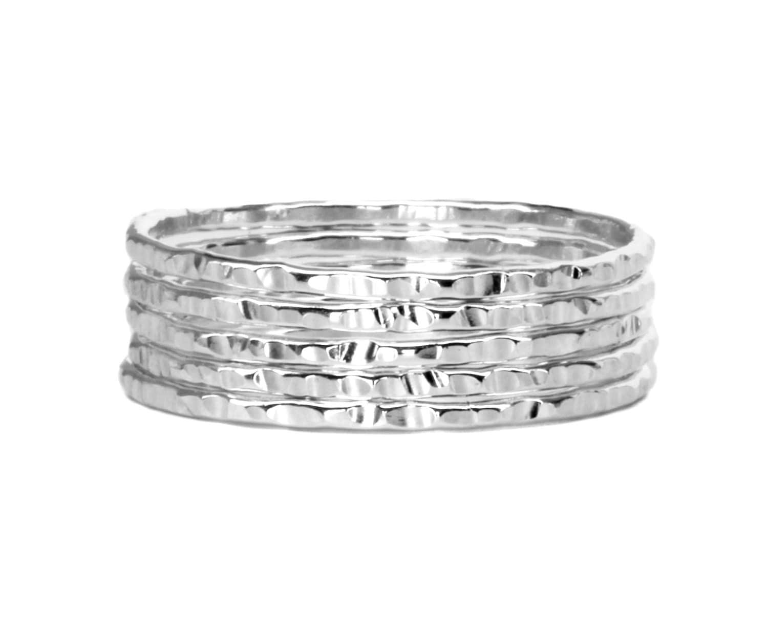 hammered silver stacking rings thin silver stacking ring set