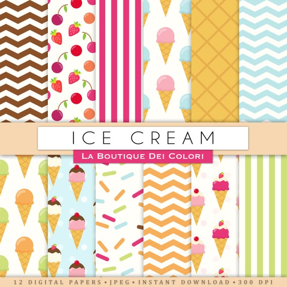 Popular Ice Cream Wallpaper Buy Cheap Ice Cream Wallpaper: Ice Cream Digital Paper. Cute Digital Paper Pack Of Icecream