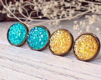 Aqua Blue and Yellow Sparkly Faux Druzy Stud Earrings Set//2 Pairs//Gift Set//Boho//Bohemian//Druzy Jewelry//Shabby Chic//Summer//Spring
