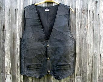 Vintage Retro Black Leather Vest Mens Waistcoat Steampunk Waistcoat Size XL genuine Leather Men's Vest Boho Motorcycle Biker Vest