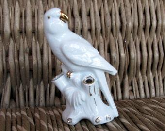 Bawarian Vintage porcelain figurine Gerold Porcelain Bawaria Figurine Parakeet Parrot Budgerigars Budgie Old Collectible porcelain