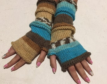BLACK FRIDAY SALE! Knit Fingerless gloves  Mittens  Long Arm Warmers Boho Glove Women Fingerless Wrist multicolored gloves Ready to ship!