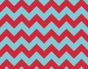 One Yard Medium Chevron - Tone on Tone in Aqua Blue / Red - Cotton Quilt Fabric - C380-07 - Riley Blake Designs (W3319)