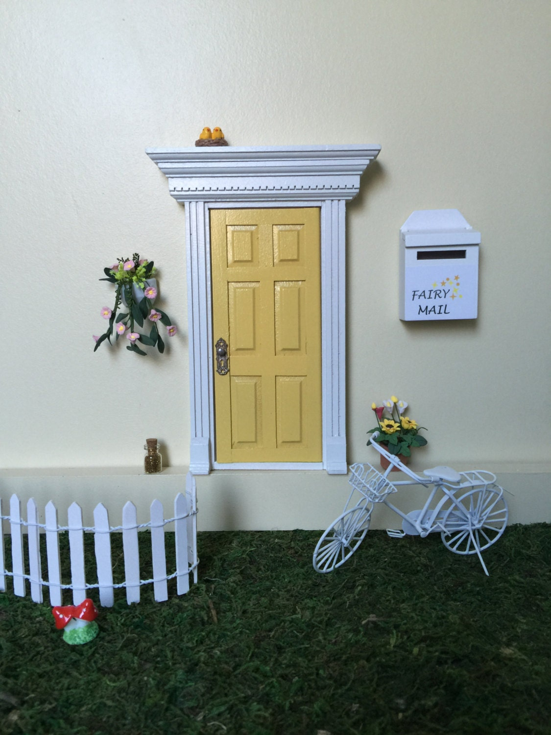 Yellow fairy door that opens with key victorian opening fairy for Fairy door with key