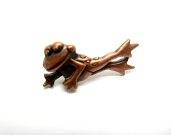 Pins vintage 80 elongated copper frog