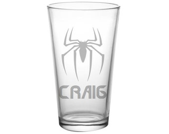 Spiderman Pint Glass - PERSONALIZED Spiderman Glass  - DEEP ETCHED Spiderman Beer Glass - Spiderman Glass
