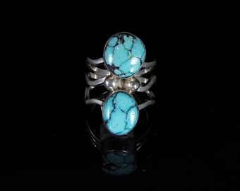 Chinese Turquoise Ring Sterling Silver Handmade Size 7.75, R0452
