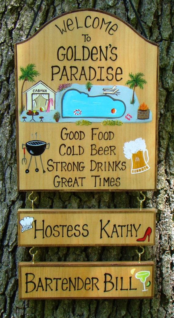 Items similar to Hand Painted Custom Pool Backyard Sign ...