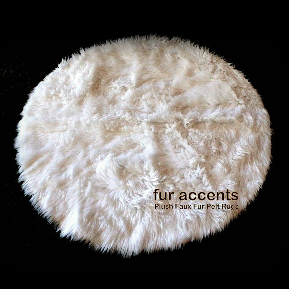 Plush Faux Fur Round Shag Area Rug Shaggy White Throw