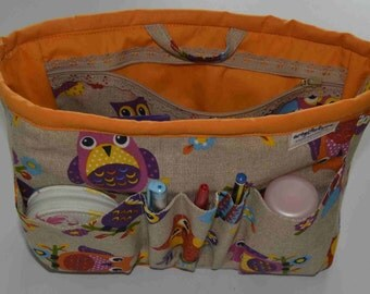 "bag organizer/pouch organizer/ Insert handbag organizer/purse organizer insert/ organizer owls orange 10""Width x3.5""depthx7.5 halt"