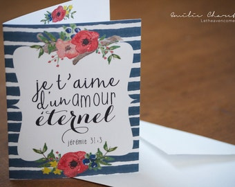 I love you with an everlasting love - Christian French wish card with Bible verse