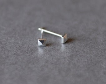 Silver Pyramid Stud Earrings -  Sterling Silver