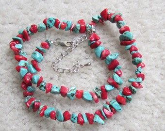 Vintage Jewelry Silver Tone Natural Turquoise & Red Coral Necklace 21''