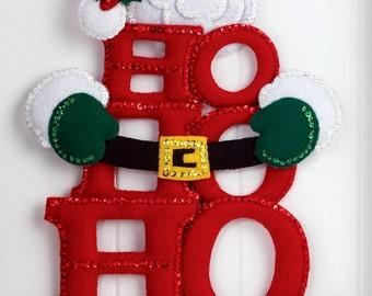 "Bucilla Ho Ho Ho Santa ~ 2013 Felt Christmas Wall Hanging Kit #86421 10"" x 19.5"" DIY"