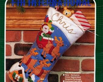 "Bucilla Over The Rooftop ~ 18"" Felt Christmas Stocking Kit 48973 Santa Reindeer DIY"