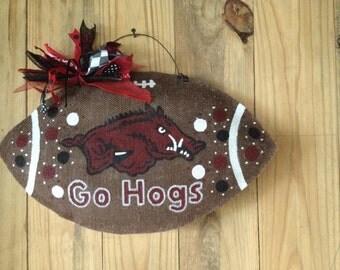 Arkansas Razorbacks Burlap Football Door Hanger,