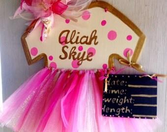 Pink Baby Girl Door Hanger* BabyTutu Door Hanger*Baby Girl Wood Or BurlapHospital Door Hanger*It's a Girl Door Hanger*Nursery Decor