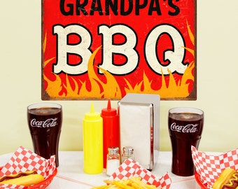 Grandpas BBQ Barbecue Flames Wall Decal - #57921