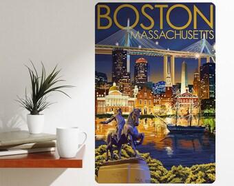 Boston Massachusetts Landmarks Wall Decal - #60916