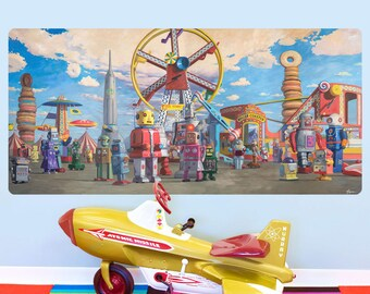 Robots At Donut Fairgrounds Wall Decal - #59573
