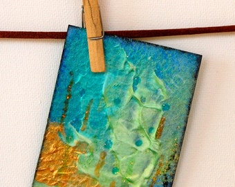 Artist Trading Card.ACEO Card. Original Mixed Media. Seabed Treasure. Miniature Art ACEO. Painting original.ACEO original.Limited Edition