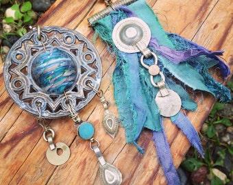 Autumn Azure bohemian asymmetrical earrings