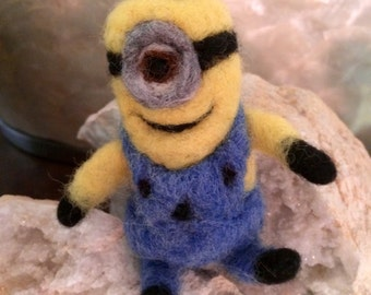Minion Keychain in carded wool! Waldorf style. Made to order