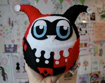 Owlie Quinn - Owl Plushie based on Harley Quinn