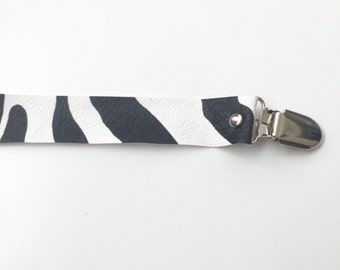 Black and White Zebra Pacifier Clip