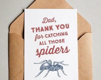 Funny Printable Father's Day Card - Spider - Card for Dad from Daughter