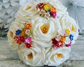 Paper Flower Bouquet Origami kusudama rose blossom white vibrant multi bright colour festival carinval folk rock roll not brooch silk foam