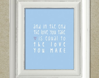 beatles art print / the end lyrics