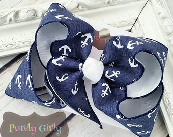 Anchor Hairbow Large Navy White Denim Bow Navy White