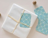 Set of 5 little cards / gift tags printed with floral pattern Lotus, for wrappings and little words