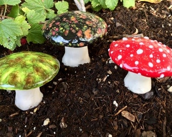 Three hand crafted ceramic toadstools - T138