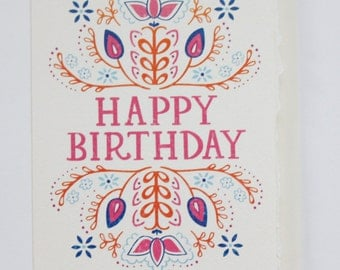Happy Birthday - Hand Lettered Greeting Card