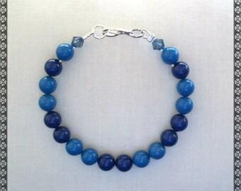 Swarovski bracelet, blue bracelet, dark blue bracelet, denim blue, blue pearls, Swarovski