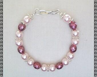 pink bracelet, swarovski bracelet, pearl bracelet, swaroski, light pink