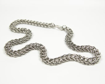 Flat Full Persian 5 in 1 Necklace, Chainmaille Necklace, Stainless Steel, Chainmail Necklace, Chain Maille, Mens Necklace, Mens Jewelry
