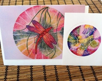 Mandala Card, mandala Sticker, dragonfly, colour, rainbow, gift set, mandala design, set of 2, bright, boho, pink, red, gift set, art gift
